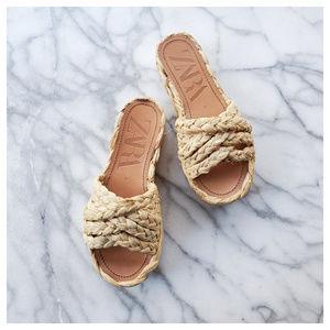 Zara Natural Raffia Platform Wedge Sandals Size 5